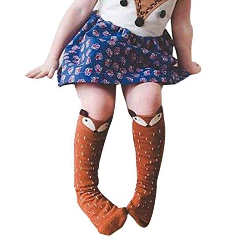 Farbe Socken Knee High (DDLBiz® Kinder Mädchen Fox Muster Knee High Socks Strümpfe (0-1 Years, Kaffee))