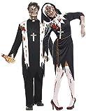 Hommes Et Femmes Couples Déguisement Zombie Nonne & Prêtre Halloween Horreur Sister Père Religieux Déguisements Outfits - Noir, Femmes 48-50, Hommes M