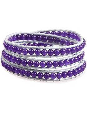 KELITCH Grau Leder Wickelarmband Armband Manschetten Armbänder mit Lila Jade Perlen, 3-reihig