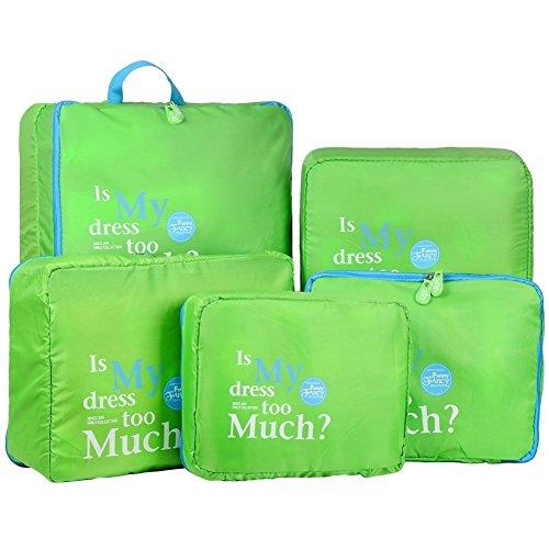 Topteck Nylon Reisegepäck Organizer Taschen 5er-Sets Aufbewahrungstaschen,Blau Grün