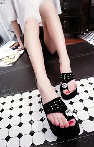 Strass Sandalen weiblichen flachen rutschfesten weiche Sohlen Freizeitschuh mit flachen Sandalen und Pantoffeln Flip Black