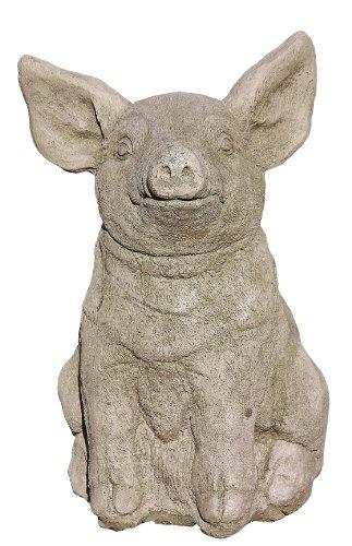 Steinfigur Schwein, Skulptur aus Steinguss, für Garten, Balkon & Terrasse