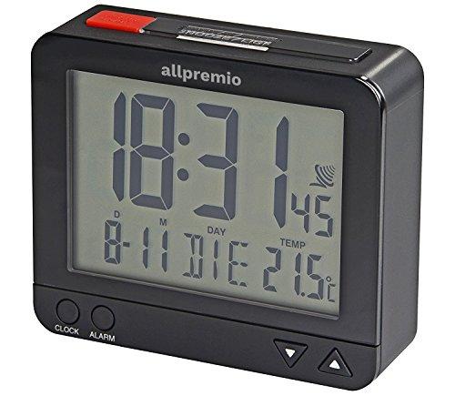 Funkwecker Digital - kompakter Funk Uhr Wecker mit Licht Schlummerfunktion Snooze Alarm Datum und Temperatur großes Display beleuchtet - Schwarz