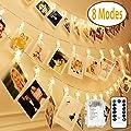 Vivibel LED Foto Clips Lichterketten-8 Modi 20 Clips 2M Fernbedienung Batterie Betrieben Stimmungsbeleuchtung für Schlafzimmer Hängende Bilder Kunstwerke Memos Fenster Zimmer (Warm-weiß) von Vivibel