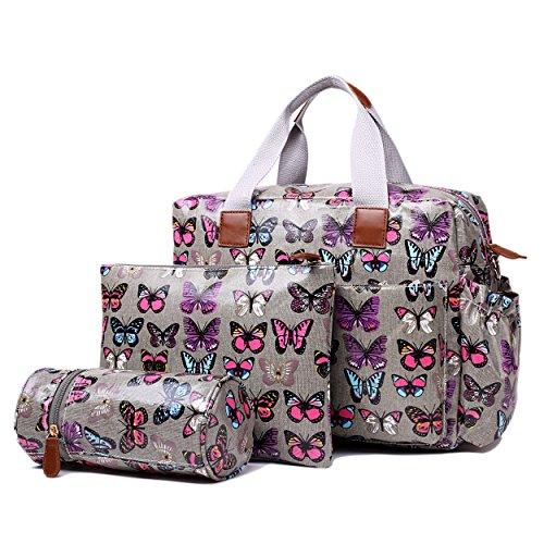 Miss Lulu 4PCS Baby Windel Windel Wickeltasche Set große Tragetasche Handtasche Schmetterling Blume Polka Dots Elefant Hund Katze Vogel Print Schmetterling Grau