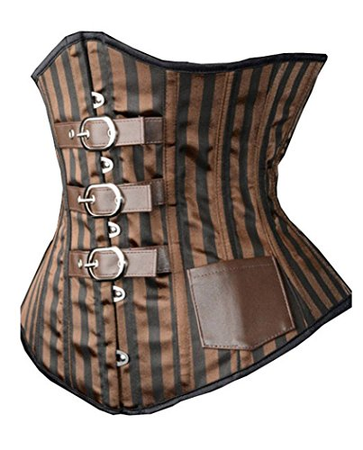 Camellias Black Leather Steel Boned Waist Training Corset Underbust Waist Shaper, SZ1780-XL, Braun, SZ1780-XL XL -