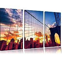 Manhattan tramonto 3 pezzi immagine immagine tela 120x80 su tela a, XXL enormi immagini completamente Pagina con la barella, stampe d'arte sul murale cornice gänstiger come la pittura o un dipinto ad olio, non un manifesto o un