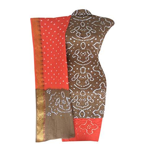 Bandhani (bandhej) cotton silk dress material gold & orenge