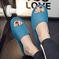 fankou Home Interior Floor Thick Linen Cool Slippers Home with Anti-Slip Sweat Men and Ladies Slippers,39-40, Summer Sky Blue