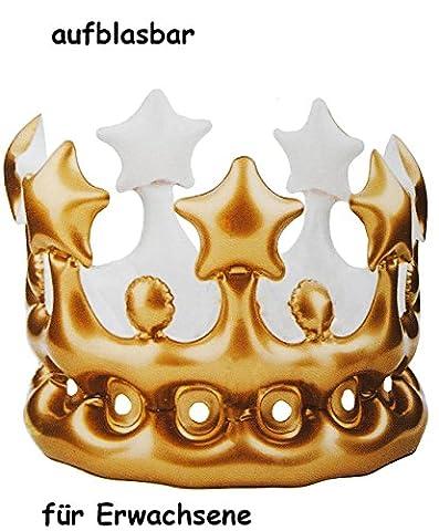 Krone - golden Farben - Aufblasbar - für Erwachsene - lustiger Partyartikel - Königskrone - Fasching Karneval & Geburtstag 30 / 40 / 50 / 60 er - Scherz / Scherzartikel - Geburtstagsparty - König & Königin / Prinz & Prinzessin - Geburtstagskind - goldene Hochzeit