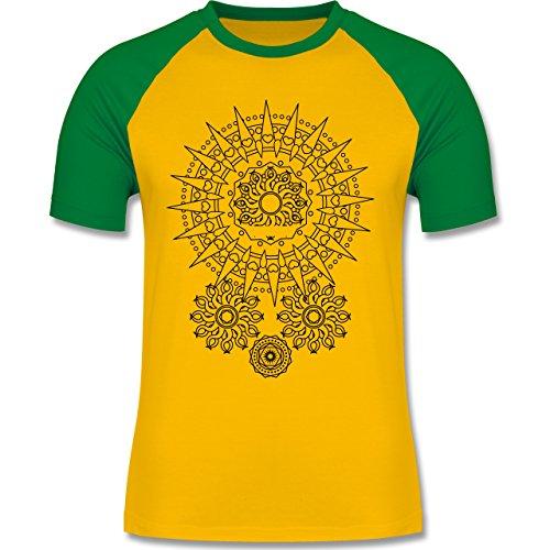 Boheme Look - Boho Mandala Yoga - zweifarbiges Baseballshirt für Männer Gelb/Grün
