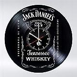 HMMDD 12 Pouces Horloge Murale Whisky en Forme De Bouteille Disque Vinyle Horloge Murale Créatif Rétro Horloge Murale à La Main à La Maison Décoration Horloge Horloge Murale