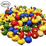 McNory 30 Pezzi Trottola in Legno, Mini Trottola Colorate in Legno Colorati Artigianali Set per Bambini Giocattolo Partito