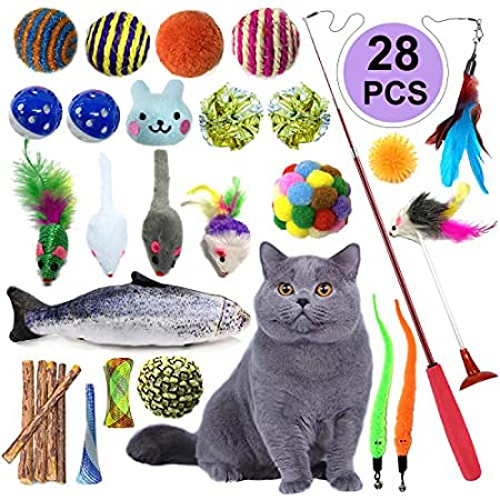 PietyPet Katzenspielzeug Interaktives Spielzeug, Katze Spielzeug Interaktive Feder Teaser Stab Spielzeug Set, Katze Toys…