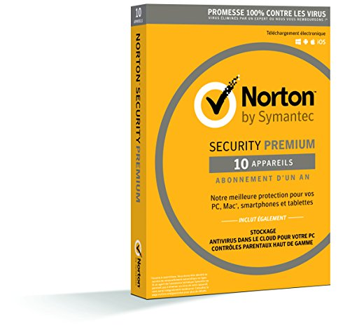 Symantec - Norton Security Premium 2018 | 1 An | 10 Appareils | PC/Mac/Android/iOS | Téléchargement