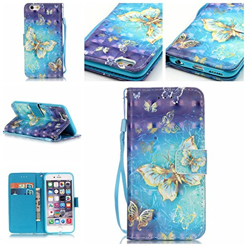 iPhone 6S Plus Coque, iPhone 6 Plus Coque, Lifeturt [ Ours Balloon ] Coque Dragonne Portefeuille PU Cuir Etui en Cuir Folio Housse, Leather Case Wallet Flip Protective Cover Protector, Etui de Protect E02-Papillon d'or