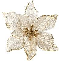 10 pezzi fiori artificiali di Natale decorazione per albero di Natale per  matrimonio decorazione natalizia gold