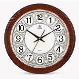 Vinteen Wohnzimmer-Wanduhr-Atmosphäre antike dreidimensionale stille Horologe Uhr und passt kontinentale Mode-Rundschreiben-Uhr-Kreativitäts-Taschen-Uhr-klassische Quarzuhr auf (Color : Silver)