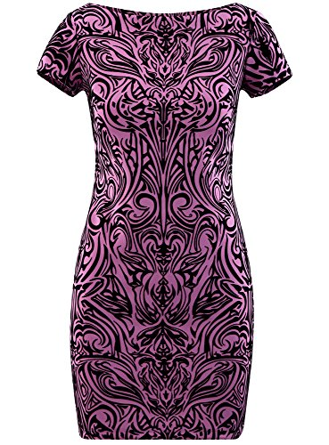 oodji Ultra Damen Jersey-Kleid mit Flock-Druck Violett (4C29O)