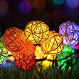 Solar Outdoor Garden String Lights,20 LED Rattan Lamp Ball Globe Fairy Lights,KEEDA Solar Christmas Lights for Outdoor Garden, Yard, Patio, Party, Home Wedding Christmas Party Decoration ( Multi)