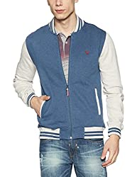 Allen Solly Mens Cotton Sweatshirt (8907308349386_AYST515S03636_XXL_Medium Blue with White)