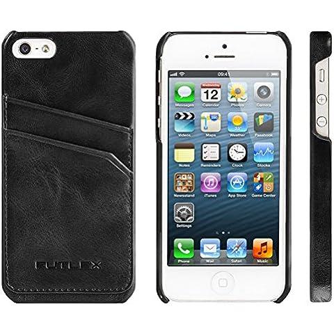 iPhone SE / 5 / 5S Funda, FUTLEX Trasera Funda de auténtico cuero estilo vintage - Negro – Porta tarjetas - Ultra fino – Diseño y corte preciso – Hecho a mano