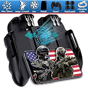Mobiler Game-Controller mit 4 Auslösern und Kühlventilator, verstellbarer Ständer für PUBG/Call of Duty/Fotnite [6…