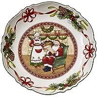 Villeroy & Boch Toy's Fantasy Bol Grande Casa de Papá Noel, Porcelana Premium, Verde/Rojo/Blanco