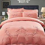 LY&J Europäischen Stil Satin Bettbezug,Eis Seide Vierteilige Set Baumwolle Bettlaken-K 200x200cm(79x79inch)