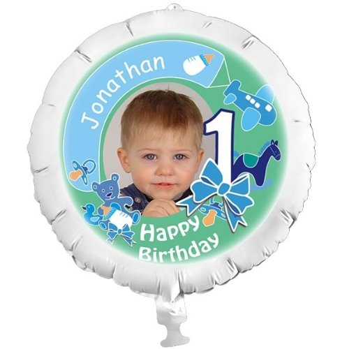 Personalisierter Foto-Ballon für den 1. Geburtstag für Jungen mit individuellen Foto, Namen und Alter, mit Helium befüllbar, in XXL, mit Heliumfüllung