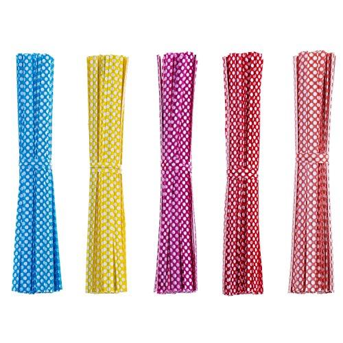 HYDLJN 500 Stück Dot Twist Krawatte 4 Zoll Tasche für Cellophan Party Bag Hochzeit Compleanni Feste und Baby Showers Dolci Biscotti Schokolade