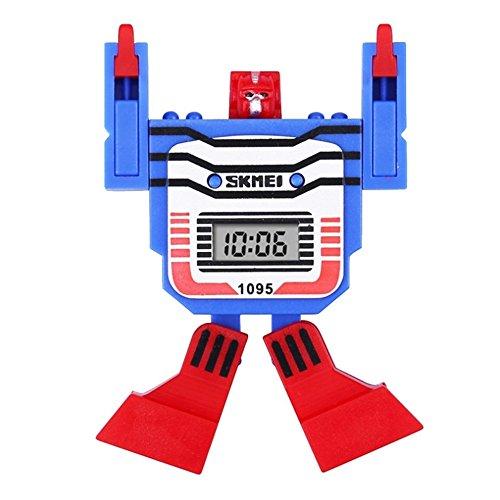 Kinder Digital Sport Armbanduhr LED Display Kinder Uhren Roboter Transformation Toys Jungen Armbanduhr Cartoon Uhr 2017NEU, blau