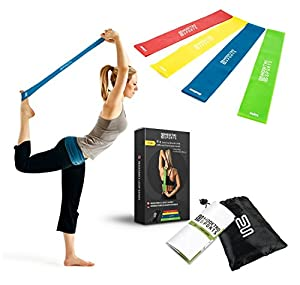 Resistance Bands - Set of 4 Exercise Fitness Loops - Suitable for Men and Women - Ideal for Mobility Yoga Pilates or Physical Therapy - Bonus Workout Videos Online, Instructions & Carry Bag
