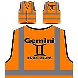 Nueva muestra del zodiaco de Géminis presente perfecto divertido Chaqueta de seguridad naranja personalizado de alta visibilidad a34vo