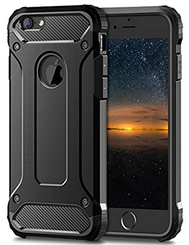 iPhone 8 7 Tough Case, Fone-Stuff® - 2 Layer X-Armor Shell Hard Back Cover – Black