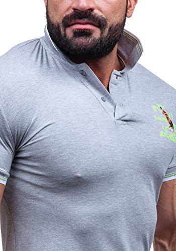BOLF T-Shirt Kurzarm Poloshirt Polohemd Shirt Herren Figurbetont LT 4020 Grau