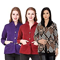 Kritika World Womens Wool Cardigan Dress (COAT_NHRU_PURPLE_MAROON_COAT2_ORNG_Purple Maroon Orange_Medium)