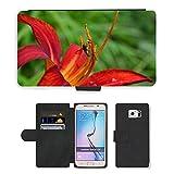 Grand Phone Cases PU Flip Carcasa Funda de Cuero Piel Cubre Case // M00140856 Emerocallide Fiore Del Giglio Rosso // Samsung Galaxy S6 (Not Fits S6 EDGE)