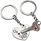 """Lover His Her Keychain Keyring Couples - Arrow & """"I Love You"""" Heart & Key -Valentine's Day / Birthday / Wedding anniversary Present Gift Free"""