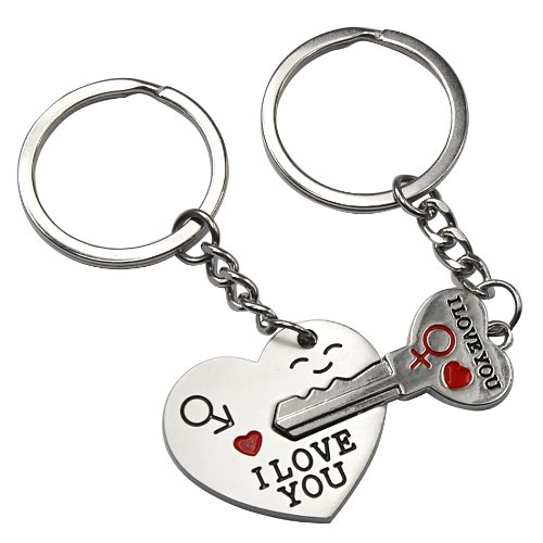 Smallwise Trading Couple Keychain Keyring --- 'I Love You' Heart + Key --- Lover Sweetheart Gift for Valentine's Day / Wedding Anniversary / Birthday