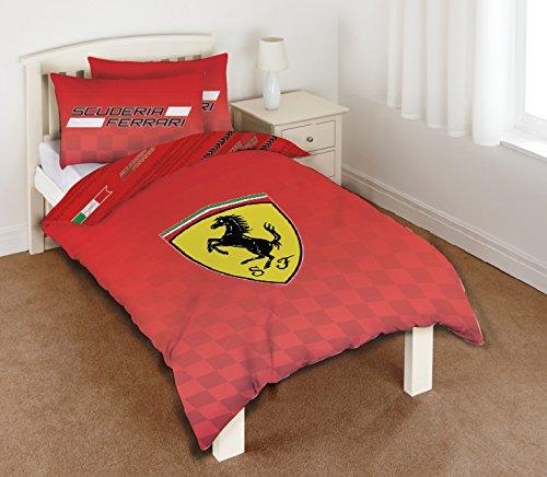 Ferrari - Set copripiumino per letto singolo, in 50% cotone e 50% poliestere, 135 x 200 cm, colore: rosso