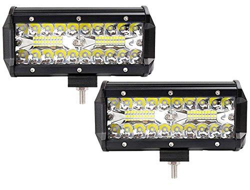 Zwei-lampe Flutlicht (Leetop 2X 120W 36W 180W 72W LED Arbeitsscheinwerfer Off-Road Scheinwerfer Bar Fernlicht 12V-24V Reflektor Lampen IP67 Wasserdicht Zusatzscheinwerfer Flutlicht für Auto Jeep Traktor SUV(120W))