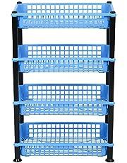 Aristo Multipurpose Plastic Storage Rack 4 Shelf/Multi Purpose/Kitchen/Living Room/Rack (40.5 cm x 26.5 cm x 62 cm, Colour May Vary)