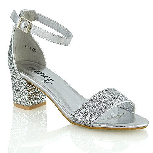 954bfb49d07 Womens Low Mid Heel Block Peep Toe Ladies Ankle Strap Party Strappy Sandals  3-8 (UK 7 EU 40 US 9
