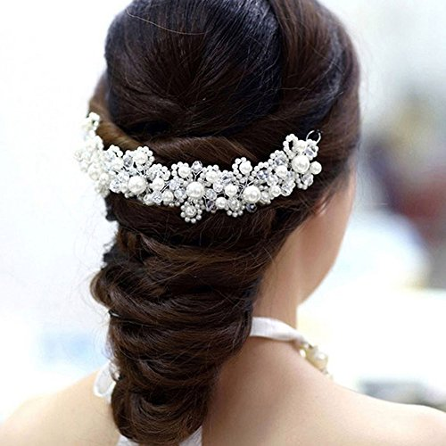 Taymee Lifestyle Bridal Wedding Hair Accessories Hairband Hairpiece Alternative Tiara Pearls Crystals Clip-in Bride Bridesmaid accessory