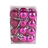 AMUSTER 24 Weihnachtskugeln Baumschmuck Weihnachten Deko Anhänger modisch Glänzend Bruchsiche Weihnachtskugeln Winter Wünsche Weihnachten Verschiedene Farben (Hot Pink)