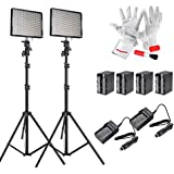 Aputure Amaran AL528KIT( AL-528S * 2) 528 Led Video Light Panel Studio Lighting Kit with Rechargeable Batteries Pack and Pergear Clean Kit