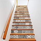 YFXGSTLI Schwarz Weiß Keramik Muster Wandfliese Treppen Aufkleber Abnehmbare PVC Wandaufkleber Wasserdichte Wandbild Poster Für Zimmer Stairway 3D 13 Stücke 18 * 100 cm