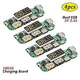 MakerHawk 4pcs 18650-Board Dual USB 5V 2.4A Mobilmodul 18650-Lithium-Batterie-Ladegerät-Board mit...