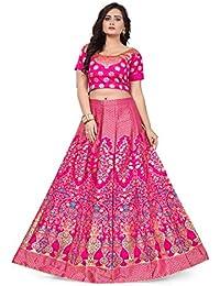 dc36b3426998 Salwar Studio Women's Pink & Gold Banarasi silk blouse piece with semi  stitched Lehenga Choli(